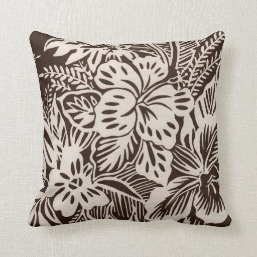 Brown and White Hibiscus Throw Pillow Zazzle