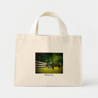 brown and white horse grazing tote; add your name mini tote bag