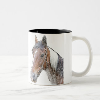 Brown and White Horse Two-Tone Coffee Mug