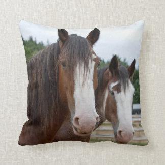 BROWN AND WHITE HORSES CUSHION THROW PILLOWS