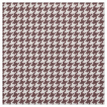 Brown and White Houndstooth Geometric Pattern Fabric