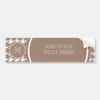 Brown and White Houndstooth Your Monogram Bumper Sticker