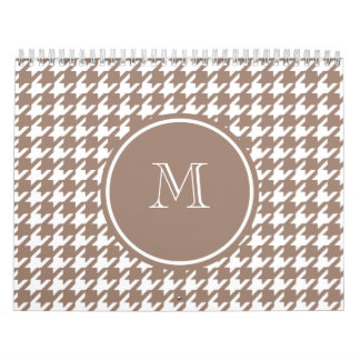 Brown and White Houndstooth Your Monogram Calendar