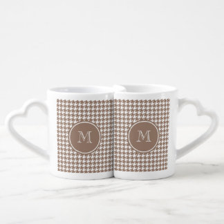 Brown and White Houndstooth Your Monogram Coffee Mug Set