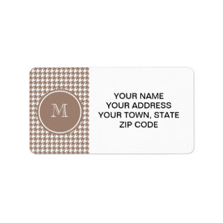 Brown and White Houndstooth Your Monogram Label
