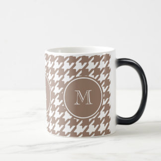 Brown and White Houndstooth Your Monogram Magic Mug