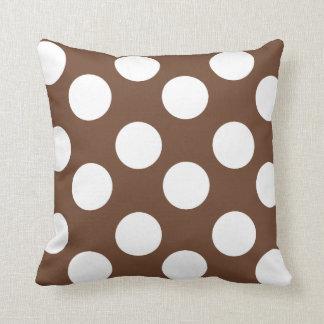 Brown and White Large Polka Dot Throw Pillow