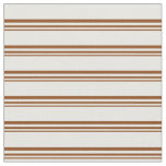 [ Thumbnail: Brown and White Lines Pattern Fabric ]