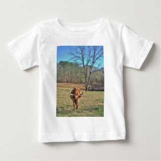 Brown and White Longhorn Bull Blue Sky Shirt