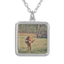Brown and White Longhorn Bull Blue Sky Silver Plated Necklace