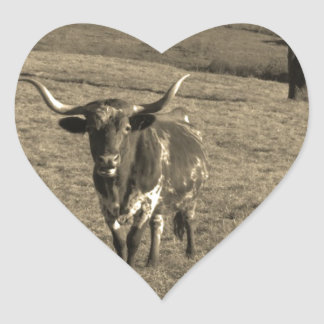 Brown and White Longhorn Bull Sepia Tone Heart Sticker