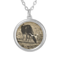Brown and White Longhorn Bull   White and Brown ca Silver Plated Necklace