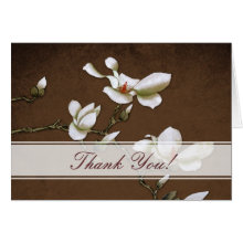 Brown and White Magnolia Thank you Card