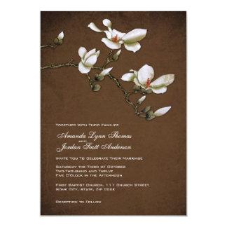 Brown and White Magnolia Wedding Invitation