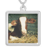 Brown and White Milk Cow Necklace