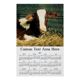 Brown and White Milk Cow Poster