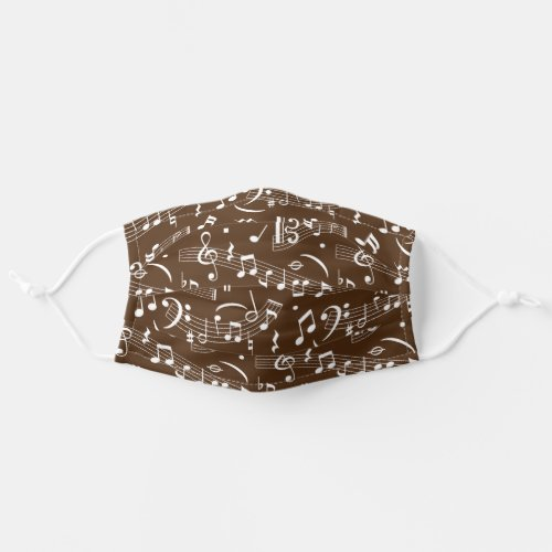 Brown and White Music Notes Pattern Adult Cloth Face Mask