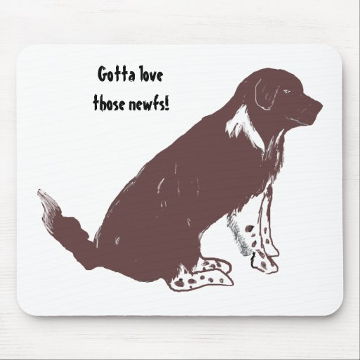 Brown and white newfie mouse pads