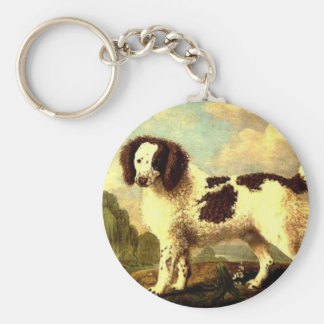 Brown and White Norfolk or Water Spaniel by George Keychain
