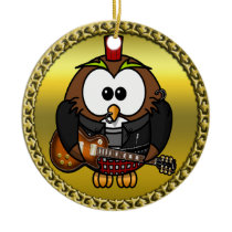 Brown and white owl playing a guitar with red hat ceramic ornament