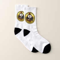 Brown and white owl playing a guitar with red hat socks