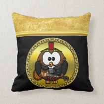 Brown and white owl playing a guitar with red hat throw pillow