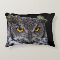 Brown and White Owl with Intense Yellow Eyes Accent Pillow
