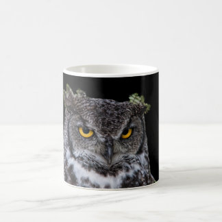 Brown and White Owl with Intense Yellow Eyes Coffee Mug