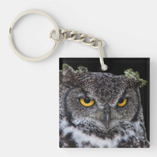 Brown and White Owl with Intense Yellow Eyes Keychain