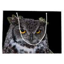 Brown and White Owl with Intense Yellow Eyes Large Gift Bag