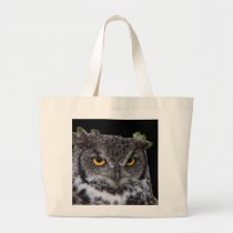 Brown and White Owl with Intense Yellow Eyes Large Tote Bag