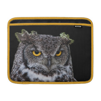Brown and White Owl with Intense Yellow Eyes MacBook Sleeve