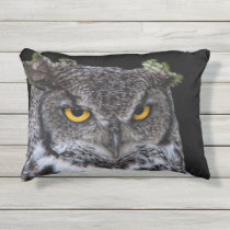 Brown and White Owl with Intense Yellow Eyes Outdoor Pillow