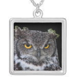 Brown and White Owl with Intense Yellow Eyes Silver Plated Necklace