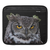 Brown and White Owl with Intense Yellow Eyes Sleeve For iPads