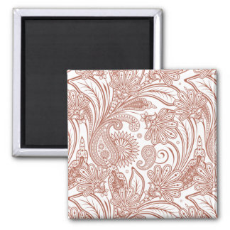 Brown and white paisley pattern.png 2 inch square magnet
