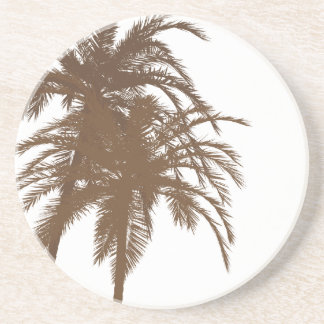 Brown and White Palm Trees Drink Coaster