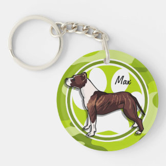 Brown and White Pit; bright green camo, camouflage Double-Sided Round Acrylic Keychain