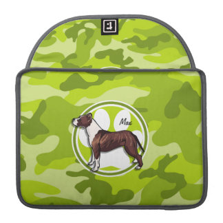 Brown and White Pit; bright green camo, camouflage Sleeve For MacBook Pro