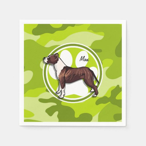 Brown and White Pit; bright green camo, camouflage Disposable Napkins