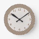 Brown and White Polka Dot Clock