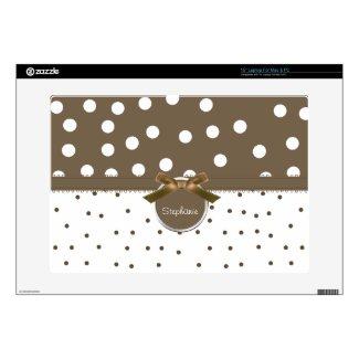 Brown and White Polka Dot Computer Skin