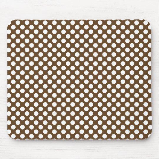 Brown and White Polka Dot Mouse Pad