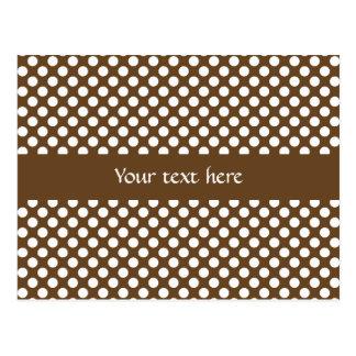 Brown and White Polka Dot Postcard