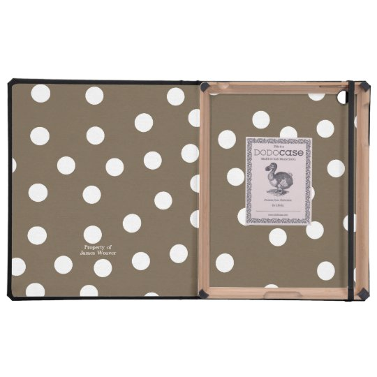 Brown and White Polka Dots Lined iPad Case