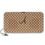 Brown and white polka dots notebook speakers