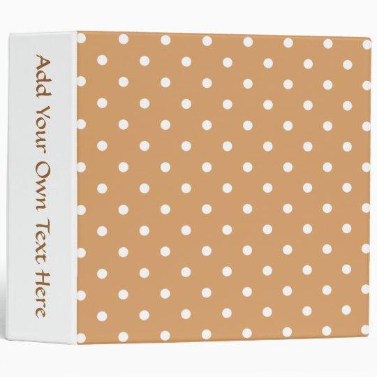 Brown and White Polka Dots Pattern. Binder