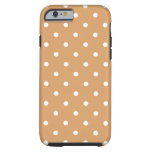 Brown and White Polka Dots Pattern. Tough iPhone 6 Case