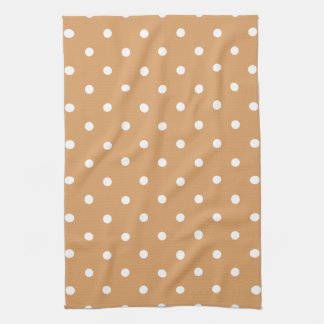 Brown and White Polka Dots Pattern. Towel