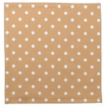 Brown and White Polka Dots Pattern. Printed Napkins